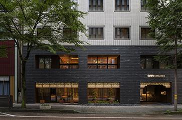 用途変更して街並みに合わせたホテル、eph KANAZAWA(エフ金沢)の外観写真